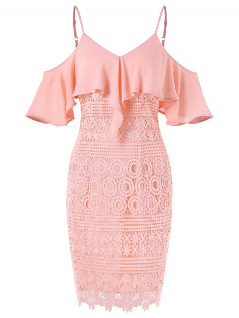Cold Shoulder Ruffled Party Dress - LIGHT PINK XL
