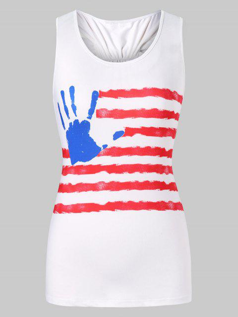 Bowknot Racerback Patriotic Tank Top - WHITE 2XL