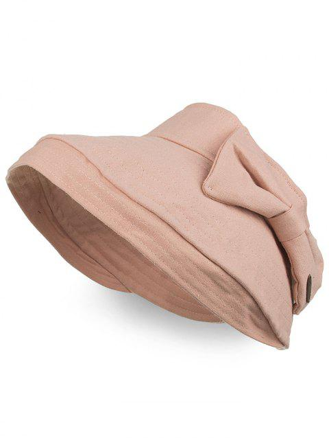 Outdoor Bowknot Open Top Foldable Beach Hat - PINK