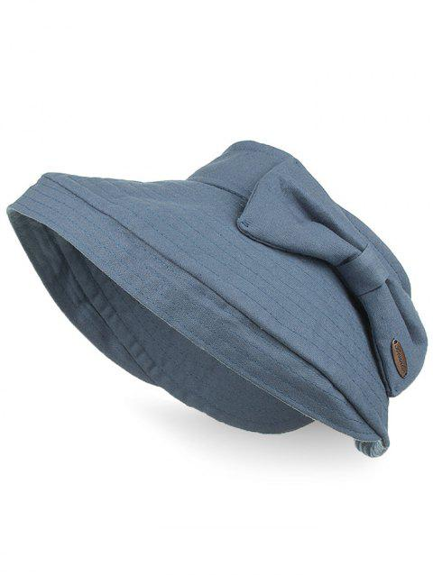 Outdoor Bowknot Open Top Foldable Beach Hat - BLUE GRAY