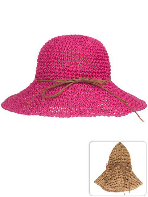 Anti UV Bowknot Foldable Straw Sunscreen Hat - ROSE RED