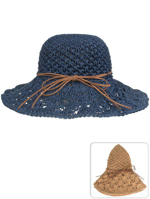 UV Protection Bowknot Hand Knitting Summer Hat - CADETBLUE
