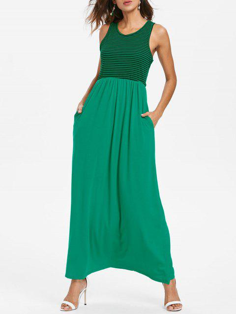 Striped Panel Maxi Dress - CLOVER GREEN L