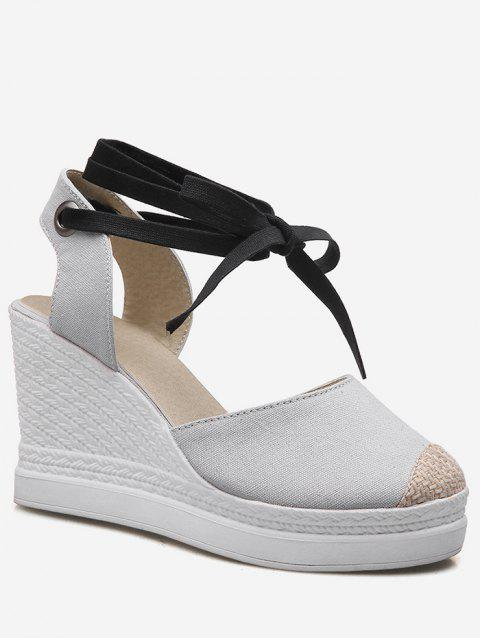 Plus Size Casual Espadrille Ankle Strap Wedge Shoes - GRAY CLOUD 41