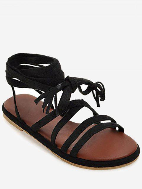 Plus Size Tassel Lace Up Leisure Sandals - BLACK 43