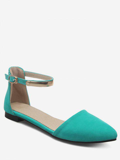 Plus Size Ankle Strap Buckled Pointed Toe Sandals - GREEN 37