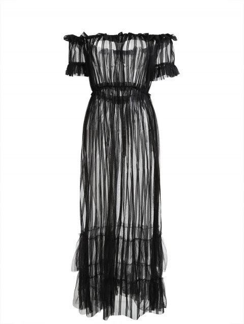 Off Shoulder Sheer Mesh Long Cover-up Dress - BLACK S