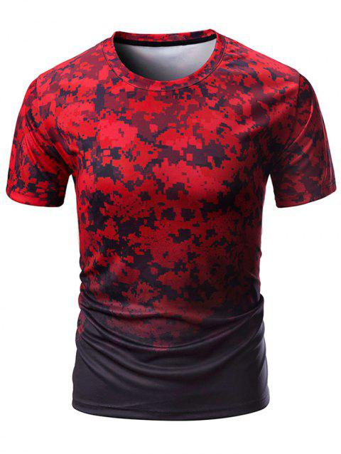 Crew Neck Digital Camo Print T-shirt - RED WINE L