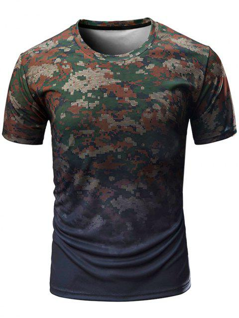 Crew Neck Digital Camo Print T-shirt - ARMY GREEN XL
