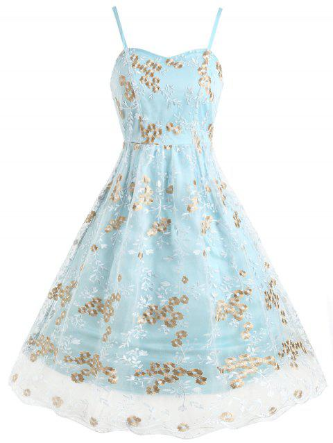 Mesh Panel Swing Midi Dress with Floral Embroidery - LIGHT BLUE S