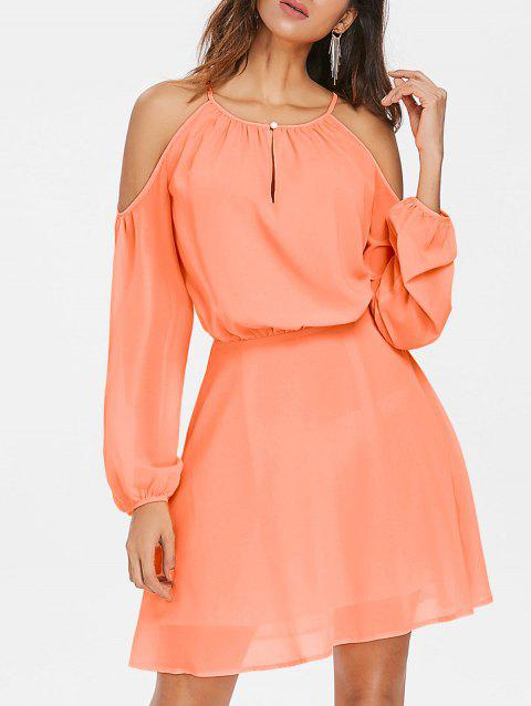 Robe en Chemisier à Epaules Dénudées - Orange Rose M