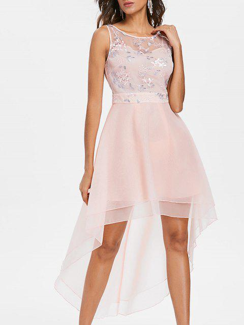 Mesh Floral Embroidered Dovetail Asymmetric Dress - PINK L