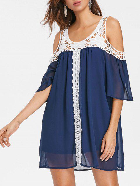 Hollow Out Crochet Shift Dress - DENIM DARK BLUE 2XL