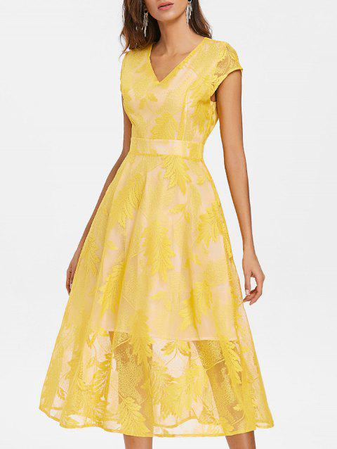 Leaves Embroidered Midi Fit and Flare Dress - RUBBER DUCKY YELLOW M