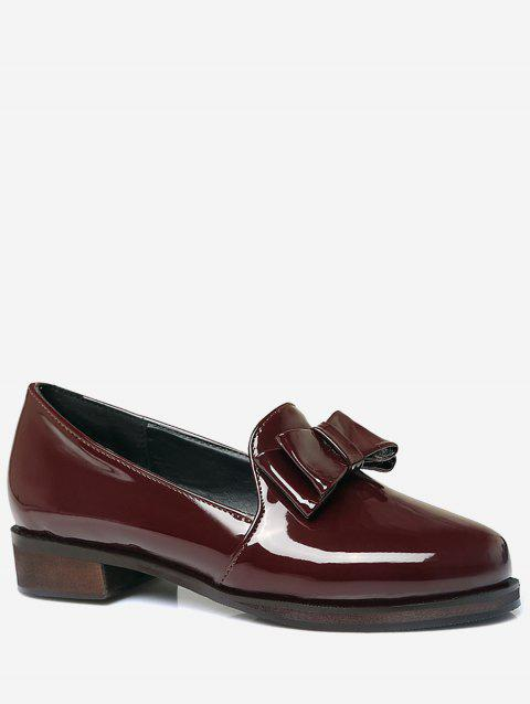Plus Size Bow Chunky Heel Retro Loafers - RED WINE 40