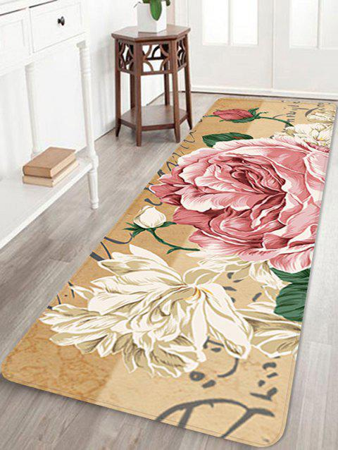 Flower Pattern Non-slip Flannel Area Rug - multicolor W24 INCH * L71 INCH