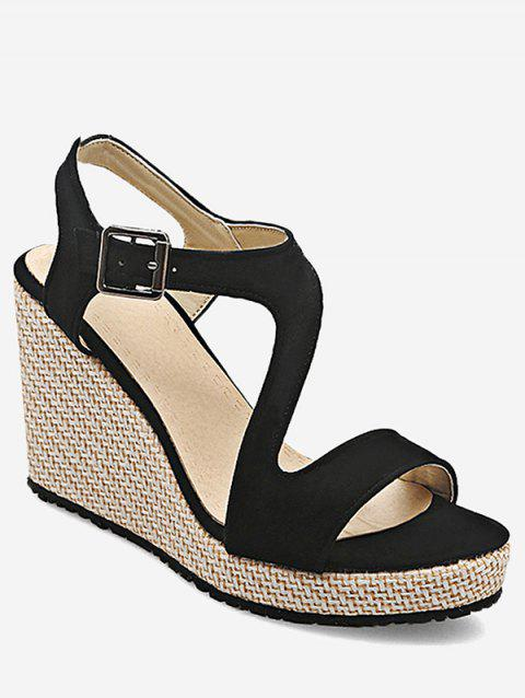 Plus Size Leisure Beach Espadrille Wedge Heel Sandals - BLACK 40