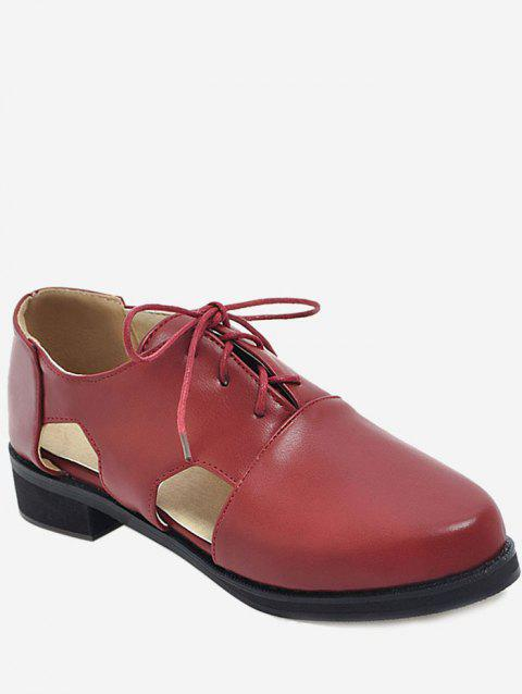 Plus Size Cork Heel Lace Up Casual Loafers - RED WINE 42