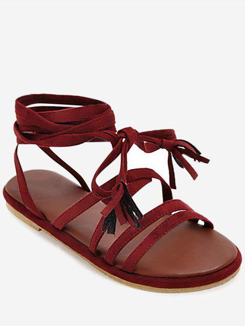 Plus Size Tassel Lace Up Leisure Sandals - RED WINE 42