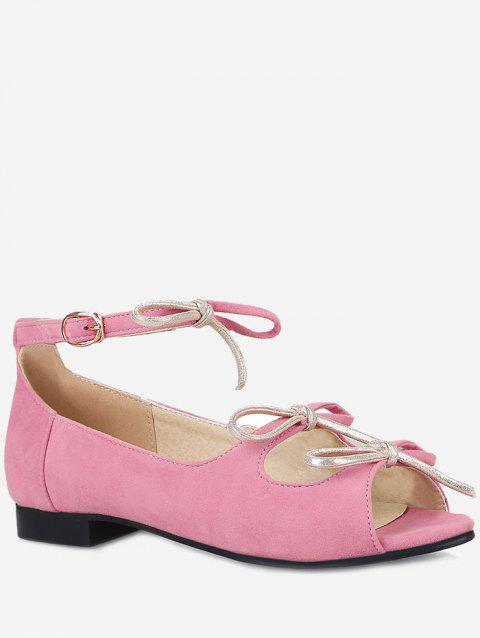 Plus Size Bowknot Peep Toe Ankle Strap Sandals - CARNATION PINK 38