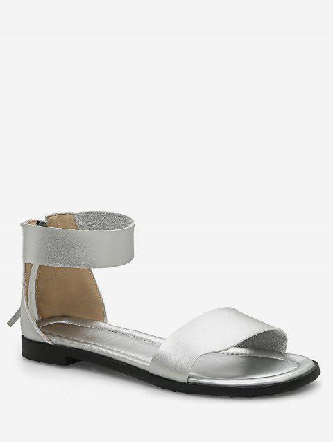 Plus Size Flat Heel Casual Vacation Sandals - SILVER 43
