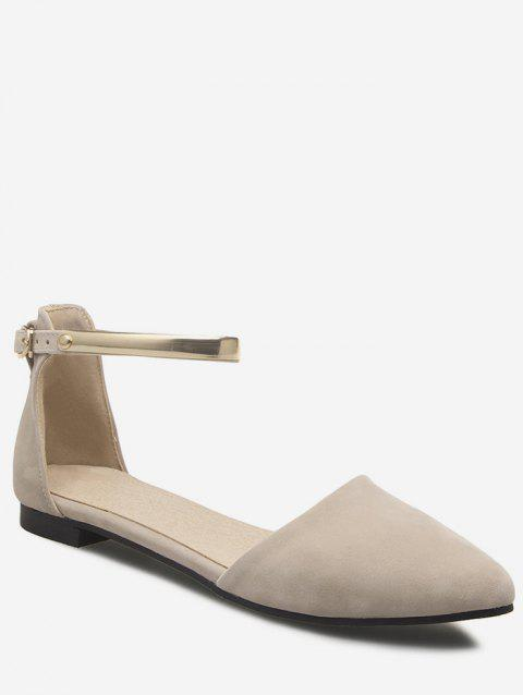 Plus Size Ankle Strap Buckled Pointed Toe Sandals - BEIGE 41
