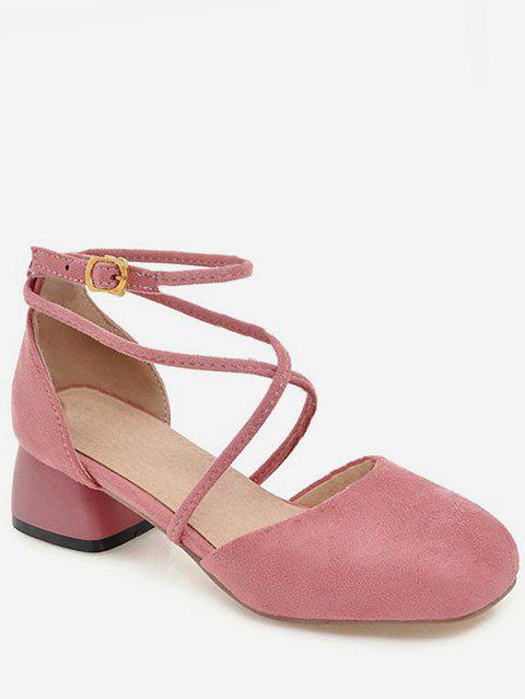 Plus Size Ankle Strap Low Heel Leisure Pumps for Party - LIGHT PINK 40