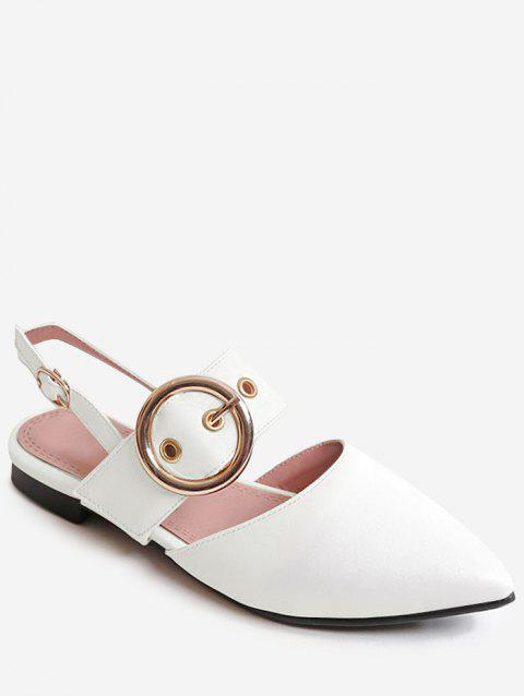 Plus Size Low Heel Pointed Toe Chic Sandals - WHITE 42