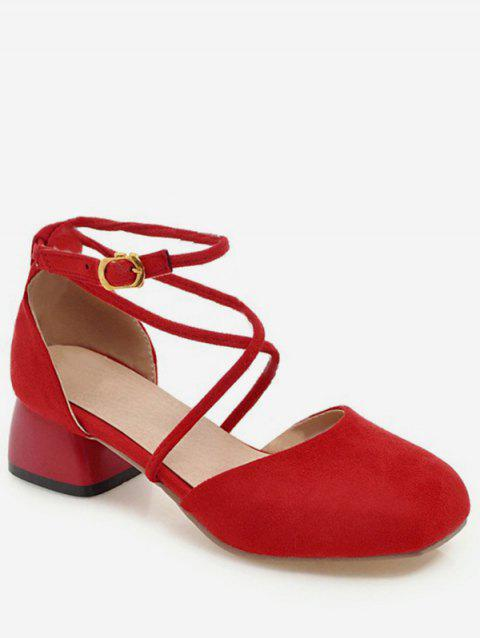 Plus Size Ankle Strap Low Heel Leisure Pumps for Party - FIRE ENGINE RED 39