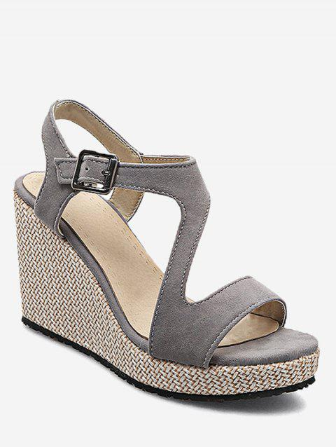 Plus Size Leisure Beach Espadrille Wedge Heel Sandals - GRAY CLOUD 39