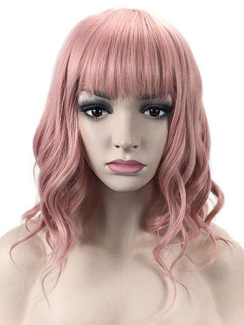 Medium Full Bang Wavy Lolita Party Synthetic Wig - ORANGE PINK