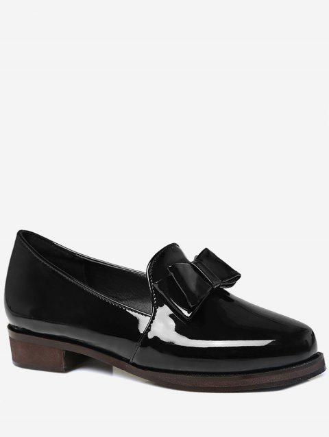 Plus Size Bow Chunky Heel Retro Loafers - BLACK 42