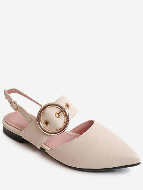 Plus Size Low Heel Pointed Toe Chic Sandals - BEIGE 37