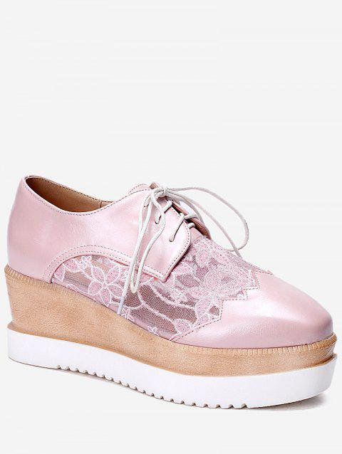 Plus Size Leisure Lace Outdoor Wedge Shoes - PINK 38