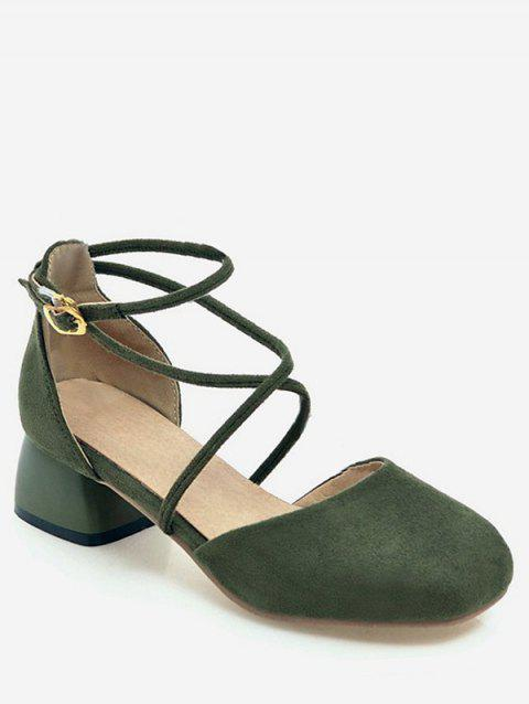 Plus Size Ankle Strap Low Heel Leisure Pumps for Party - MEDIUM FOREST GREEN 43