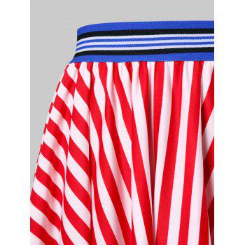 American Flag Print Midi Handkerchief Skirt - multicolor XL
