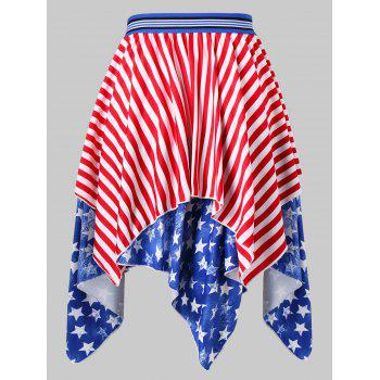 American Flag Print Midi Handkerchief Skirt - multicolor 2XL
