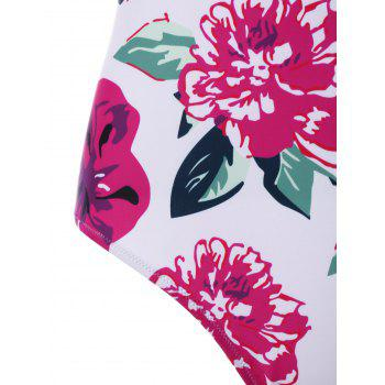 Floral Padded Underwire One Piece Swimsuit - multicolor L