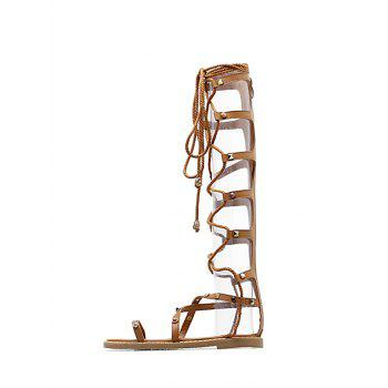 Studded Strappy Lace Up Gladiator Sandals - LIGHT BROWN 37