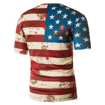 Patriotic American Flag Scrawel Print Side Hem Zipper Tee - multicolor L