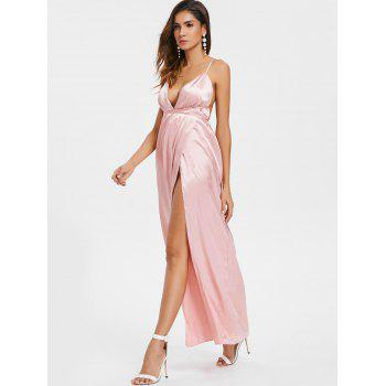 Plunge Crisscross Open Back High Slit Maxi Dress - PINK M