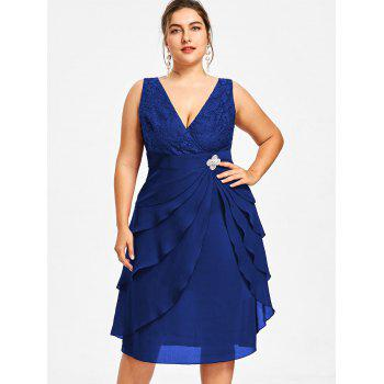 Plus Size Sleeveless Tiered Surplice Dress - BLUE 4XL