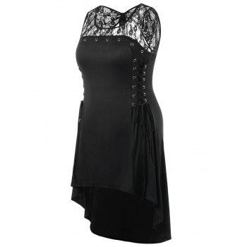 Plus Size Cutout Lace Up Dress - BLACK 1X