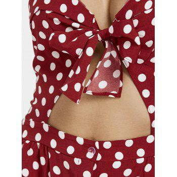 Front Knot Polka Dot Cut Out Mini Cami Dress - RED WINE S