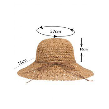 Anti UV Bowknot Foldable Straw Sunscreen Hat - CINNAMON