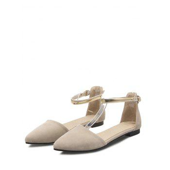 Plus Size Ankle Strap Buckled Pointed Toe Sandals - BEIGE 43