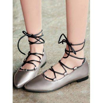 Plus Size Pointed Toe Crisscross Casual Flats - GUNMETAL 43