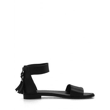 Plus Size Flat Heel Casual Vacation Sandals - BLACK 43