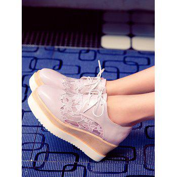 Plus Size Leisure Lace Outdoor Wedge Shoes - PINK 43