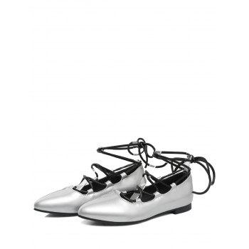 Plus Size Pointed Toe Crisscross Casual Flats - SILVER 43
